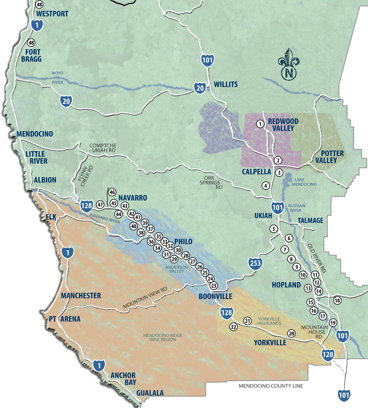 Mendocino wine map